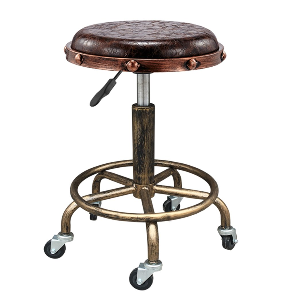 Decorative stool Vintage Bar Stools, Industrial Wind Creative PU Stool Cosmetic Stool Can Lift High Stool Swivel Chair Hairdressing Stool Universal Wheel Small Stool Lift Height 48-65CM (Color : C)