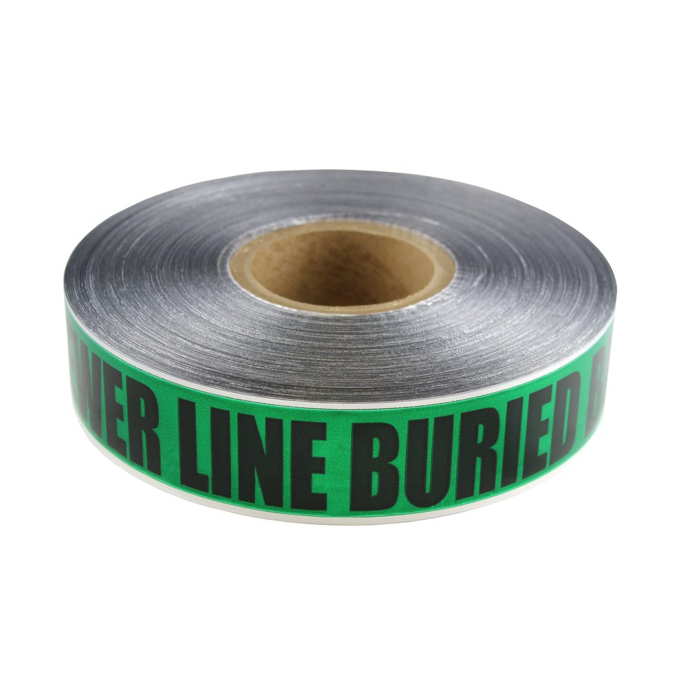 Swanson DETG2100BS5 2-Inch by 1000-Feet 5-MIL Detectable Tape Caution with Buried Sewer Line Below Green/Black Print