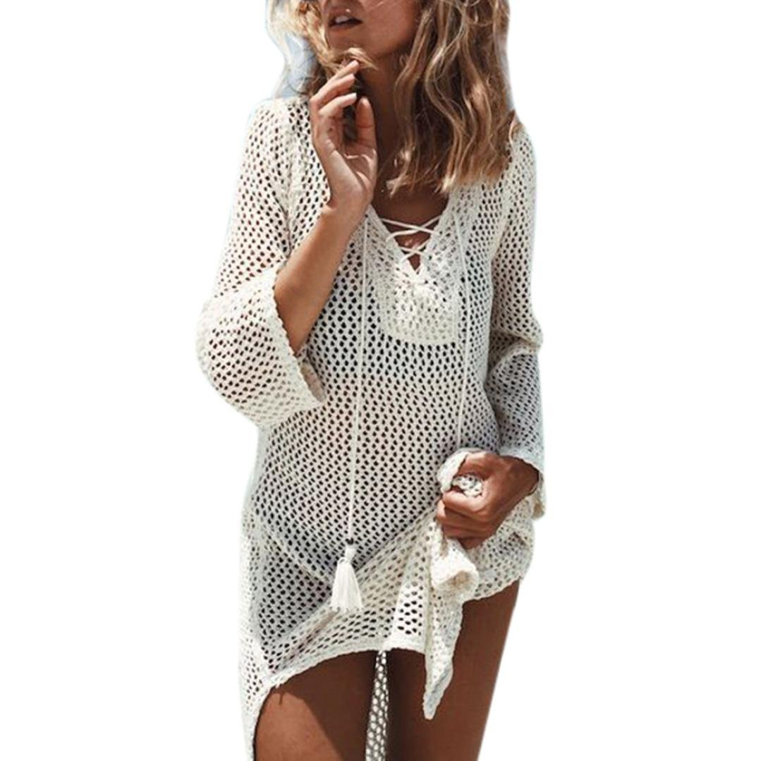 Anglewolf Women Summer Hollow-Out Bikini Cover Up Beach Sunscreen Overall Mini Dress Sexy Casual Solid Beachwear Knitted Dress Bathing Beach Crochet Smock Seaside Clothes Free Size)