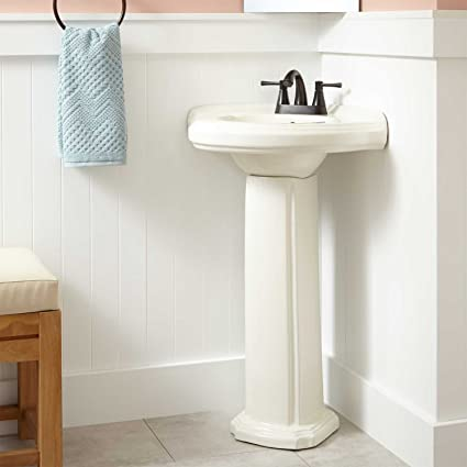 Naiture Corner Porcelain Pedestal Sink In Biscuit Finish With Oil Rubbed  Bronze Finish Pop Up