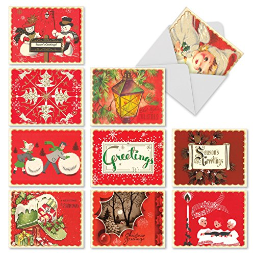 M1757XS A Crimson Christmas: 10 Assorted Christmas Note Cards Feature Retro Holiday Imagery, w/White Envelopes.