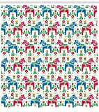 Ambesonne Horses Shower Curtain, Classic Swedish Dalecarlian Coral Azure Blue Animals and Green Floral Arrangement, Fabric Bathroom Decor Set with Hooks, 70 Inches, Multicolor