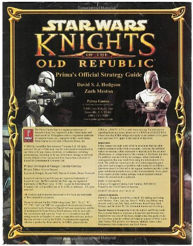 Star Wars: Knights of the Old Republic (Prima's Official Strategy Guide) (Knights Of The Old Republic Strategy Guide)