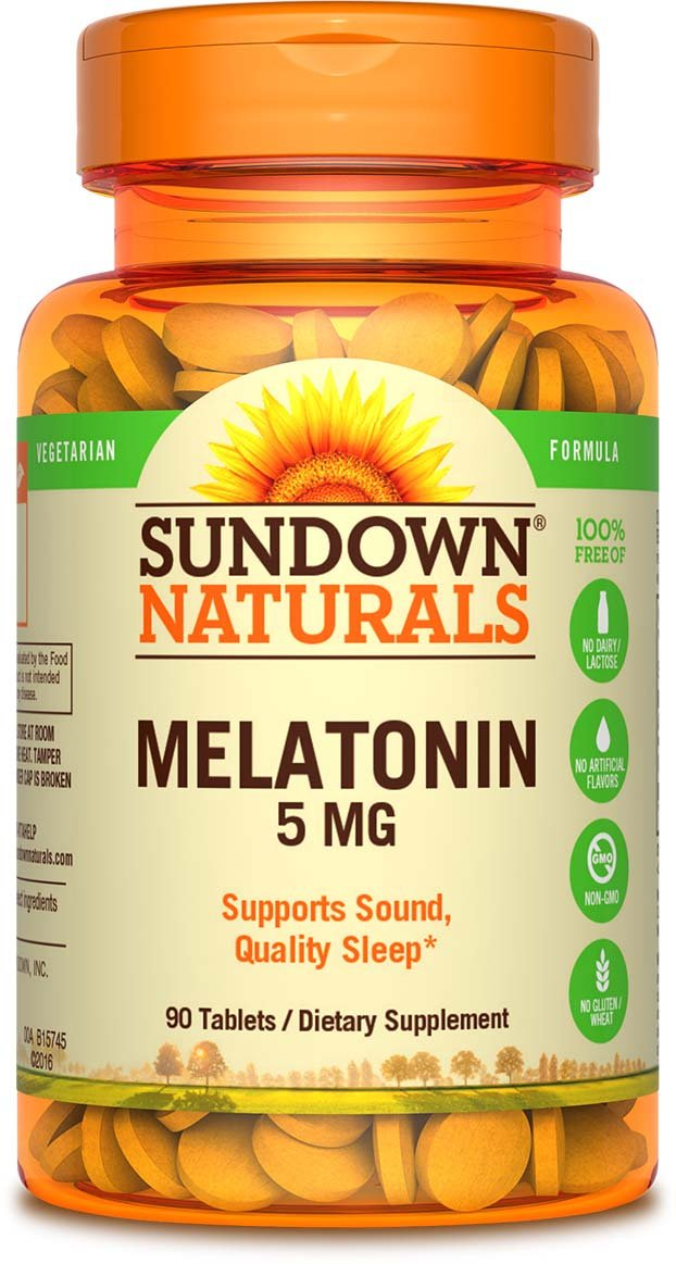 Sundown Naturals Melatonin 5mg, 90 Tablets (Pack of 3)