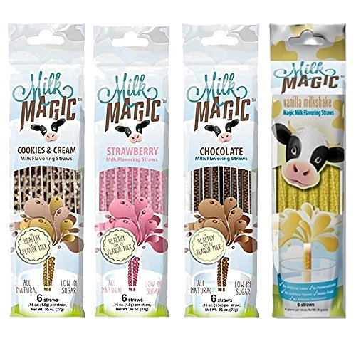 Flavored Drinking Straws - 4 Packs Official Milk Magic Flavored Straws - Chocolate, Vanilla, Cookies & Cream and Strawberry - (24 Straws total)