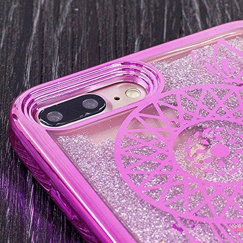 Vandot Funda para iPhone 7 Plus Brillante Caso Shell, Ultrafino Fluido Líquido Cristal Caso Bling Arena Movediza Patrón TPU Silicona Cubierta de la Caja del Teléfono para iPhone 7 Plus 5.5, Diseño de  CH LS 10