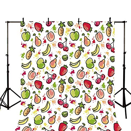 Fruits Stylish Backdrop,Watercolor Pear Cherries Kiwi Apple Brushstroke Splashes Cute Kids Kitchen Decorative for Photography,98.4