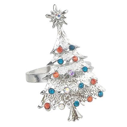 Christmas Tree Napkin Rings.Amazon Com Qtkj Set Of 6pcs Alloy Diamond Christmas Tree