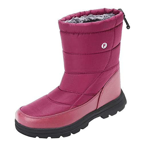 Men and Women's Waterproof Snow Boot Drawstring Cold Weather Boot, T.wine-49