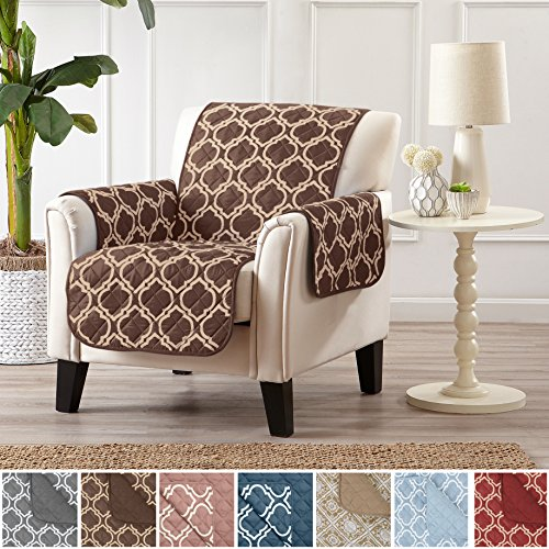 Adalyn Collection Deluxe Reversible Quilted Furniture Protector. Beautiful Print on One Side / Solid Color on the Other for Two Fresh Looks. By Home Fashion Designs Brand. (Chair, Chocolate)