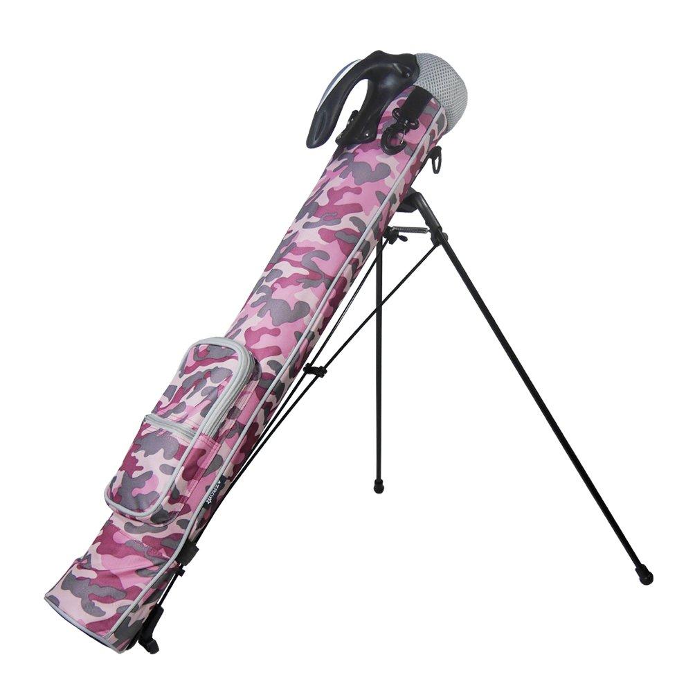 Azrof Golf Women's Half Size Club Case Caddie Stand Bag, Pink Camo