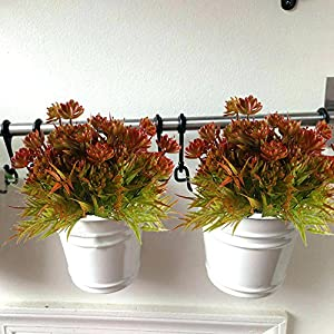 XYXCMOR 4pcs Artificial Flowers Plants Fake Succulent Bushes Faux Shrubs Plastic Bamboo Leaves Indoor Outdoor Wedding Table Centerpieces Home Kitchen Garden Bookshelf Potted Decoration 5