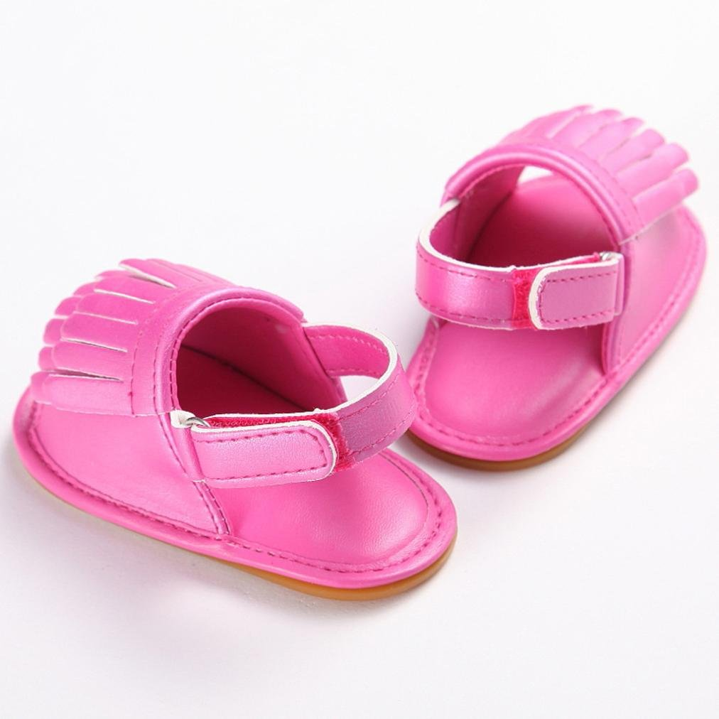 Voberry Summer Baby Girls Tassel Leather Sandals Soft Soled Anti-slip Sneakers Shoes