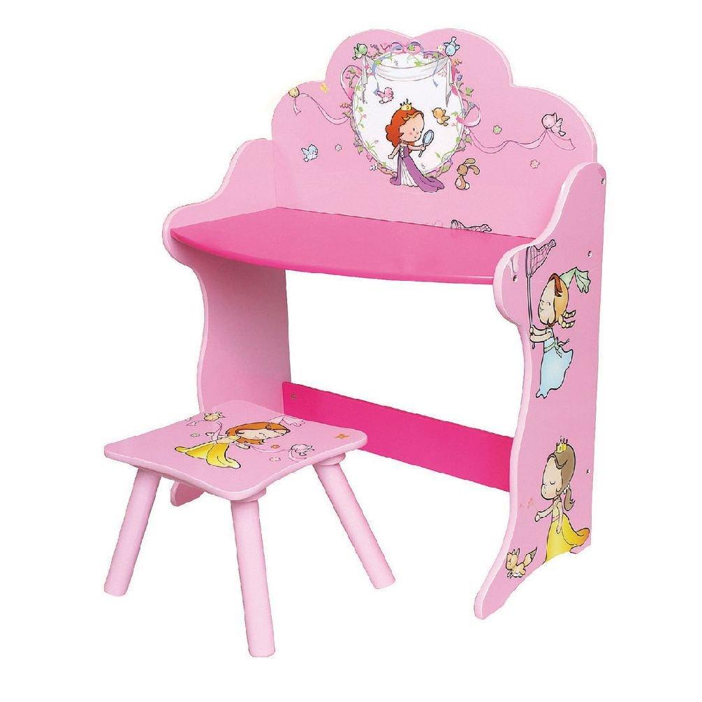 Niñas Princesa rosa mesa y silla Kids Play Study de madera ...