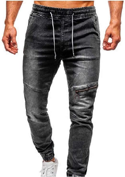 Beeatree Men Ombre Casual Zip Smocked Waist Cowboy Washed Pocketed Denim Pants