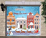 Christmas Сity Single Garage Door Covers Billboard Full Color 3D Effect Print Door Decor Decorations of House Garage Holiday Mural Banner Garage Door Banner Size 83 x 96 inches DAV209