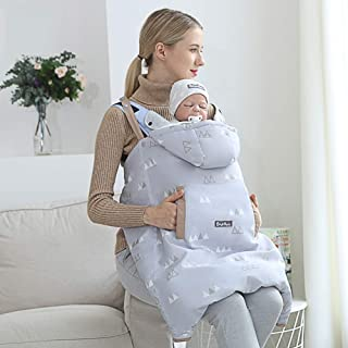 Universal Baby Carrier Cover Lovely Ear Hoodie All Seasons with Hand Warmer Pocket Windproof Warm Cloak for Winter Autumn Spring,0-36 Months,Gray ACEDA