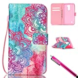 LG K10 Case, Firefish [Card Slots] [Kickstand] Flip Folio Wallet Case Synthetic Leather Shell Scratch Resistant Protective Cover for LG K10-Flower