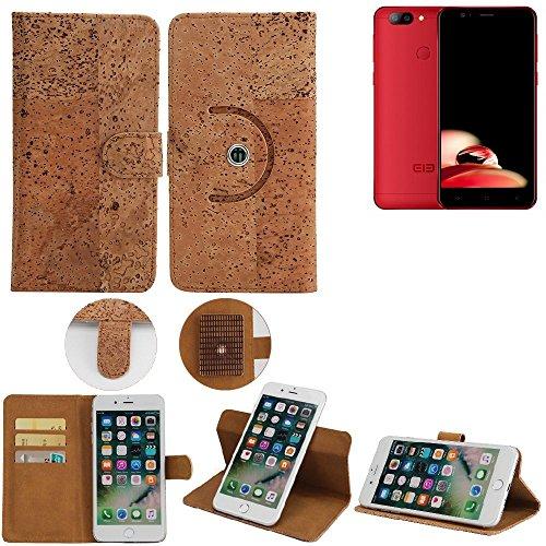 360° Funda Smartphone Caso de corcho cubierta del tirón para Elephone P8 Mini, marrón. cáscara protectora caja case cover - K-S-Trade (TM)