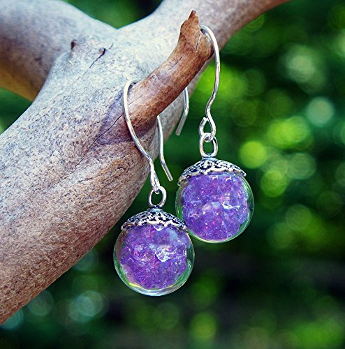 Glass Amethyst (Recycled Early 1900's Amethyst Glass Medicine Bottle Earrings)