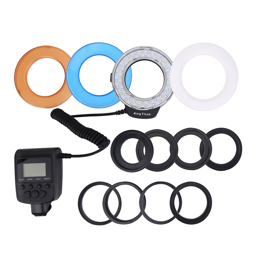 Acouto LED Macro Ring Flash light Fill Light with Adapters and LCD Display Power Control for Canon, Nikon, Olympus, Panasonic, etc