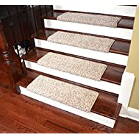 Dean Modern DIY Peel & Stick Bullnose Wraparound Non-Skid Carpet Stair Treads/Runner Rugs - Westin Fleck 30W (15)