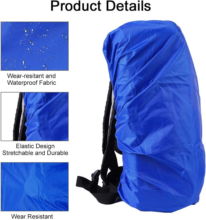 Royal Blue, M Yumi V Backpack Rain Cover Waterproof Rucksack Cover Silver Pu Coating Rucksack Liner Rains Backpack Cover with Rainproof Storage Pouch Perfect for Outdoor Camping Hiking Activities