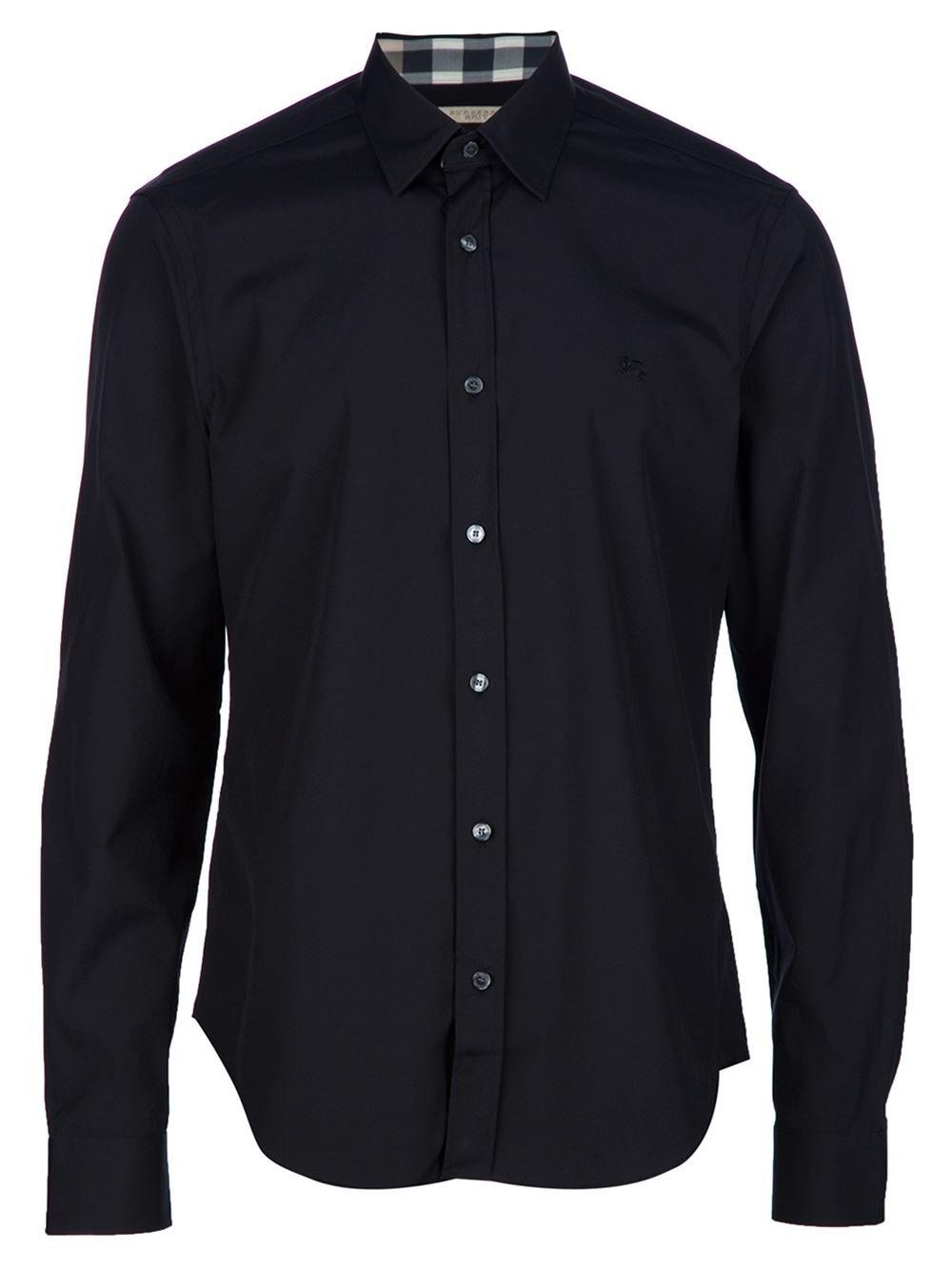 Burberry Men's Cambridge Black Stretch Cotton Trim Fit Logo Sport Casual Shirt (XL)