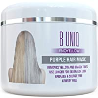 Purple Hair Mask For Blonde, Platinum & Silver Hair - No Yellow: Blue Masque to Reduce Brassiness & Condition Dry Damaged Hair - Sulfate Free Toner - 215 ml