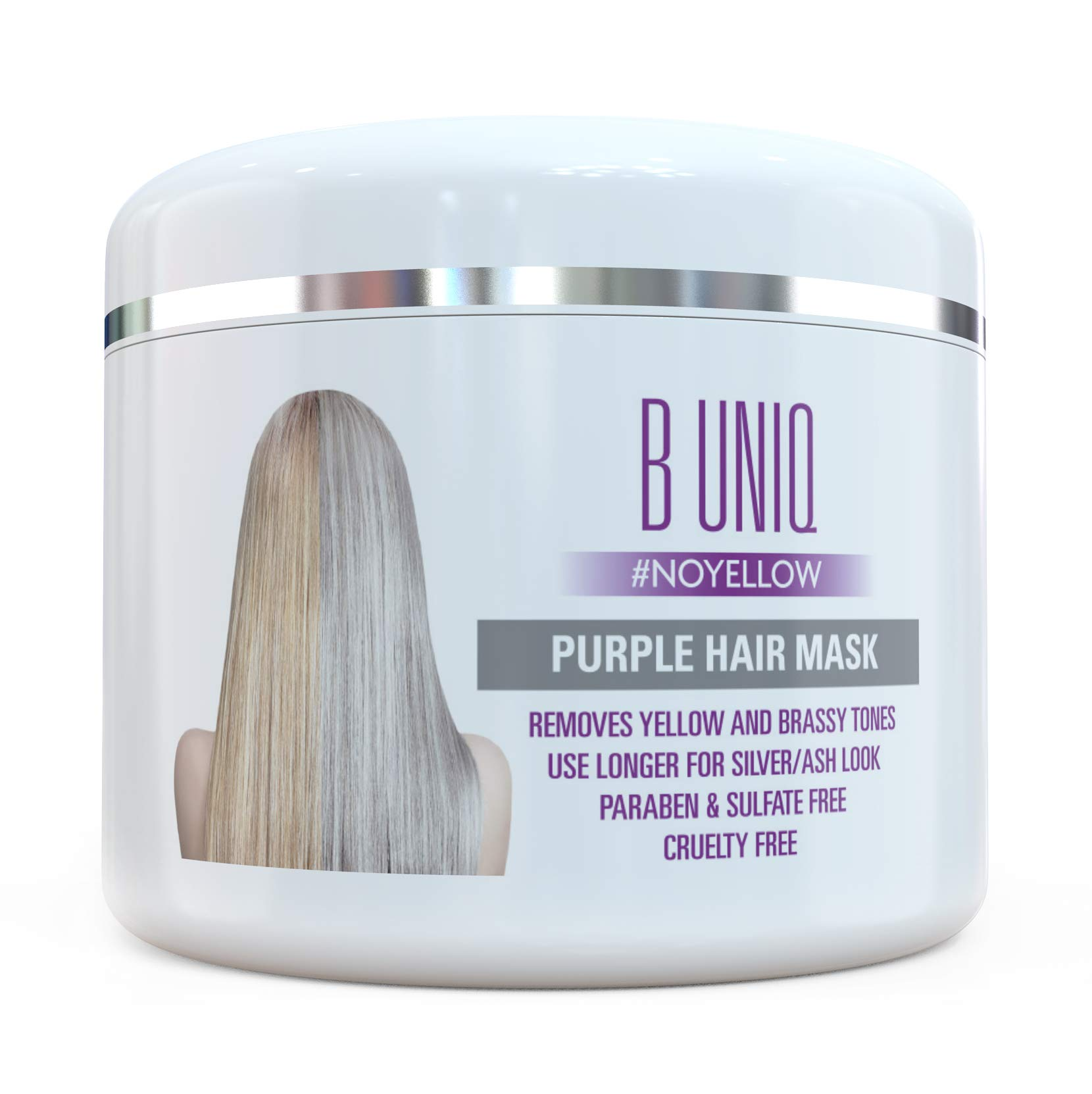 Purple Hair Mask For Blonde, Platinum & Silver Hair - No Yellow: Blue Masque to Reduce Brassiness & Condition Dry Damaged Hair - Sulfate Free Toner - 215 ml product image