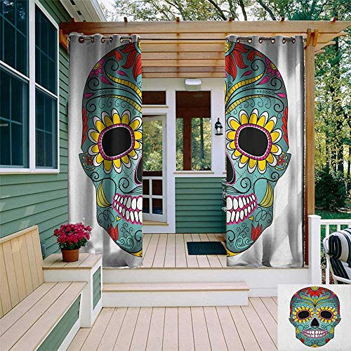 leinuoyi Sugar Skull, Outdoor Curtain Wall, Folk Art Elements Featured Skull Day of The Dead Celebration Concept Print, for Patio Furniture W84 x L96 Inch Multicolor -