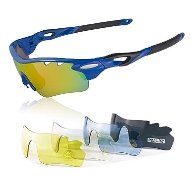 90a0cf5436 JBeard Gafas Deportivas con lentes Polarizadas y Espejo para Ciclismo MTB  Running - Gafas de Bicicleta