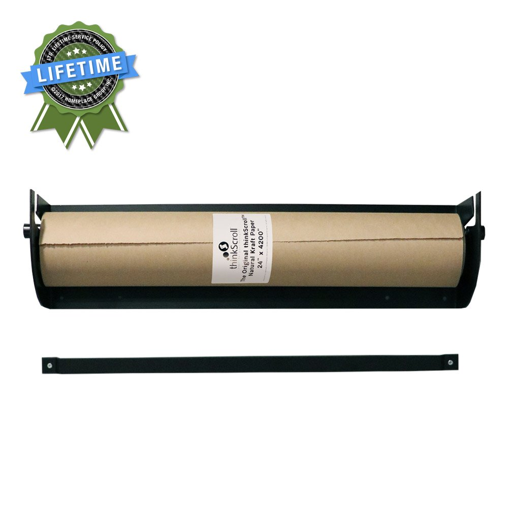 thinkScroll 24'' Wall-Mounted Kraft or Butcher Paper Roll Holder/Dispenser (Bracket and 350ft Roll of Kraft Paper)