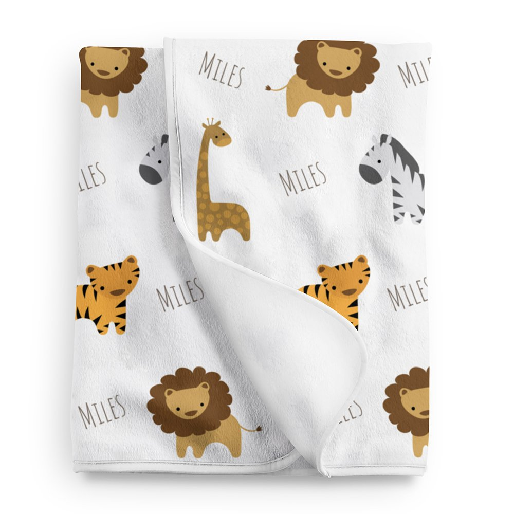 Personalized Fleece Safari Animals Baby Blanket, Safari Nursery White by Lovable Gift Co