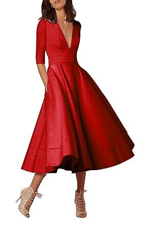 Selenova Womens Double V-Neck Half-Sleeve Satin Tea Length Evening Dresses