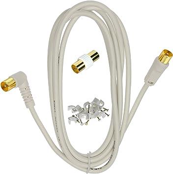 1STec - Conector macho recto, 5 m, acople y clips, 75 ohm ...