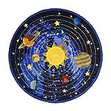 Joy Carpets Kid Essentials Geography & Environment Round Cosmic Wonders Rug, Black, 5'4''