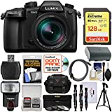 Panasonic Lumix DC-GH5 Wi-Fi 4K Digital Camera & 12-60mm f/2.8-4.0 Lens with 128GB Card + Case + Flash + Battery + Tripod + 3 Filters Kit