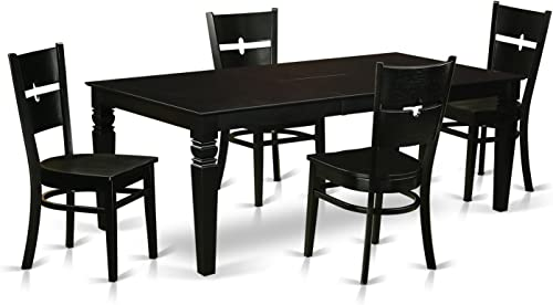 LGRO5-BLK-W 5 Pc Dining Room set with a Dining Table and 4 Wood Dining Chairs in Black