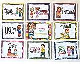 SANTSUN 9 Good Habits Polite Class Rules Teacher Classroom Signs.English Poster Classroom Wall Decoration. Class Organization Charts.