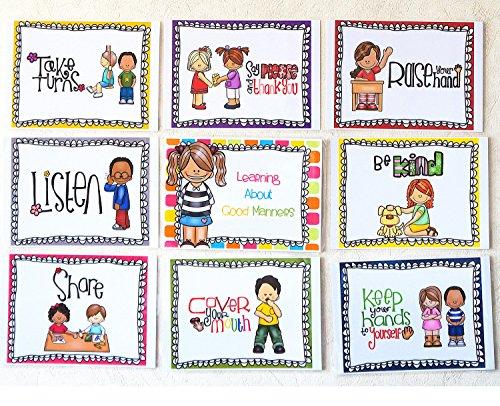 SANTSUN 9 Good Habits Polite Class Rules Teacher Classroom Signs.English Poster Classroom Wall Decoration. Class Organization Charts. -
