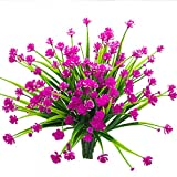 #8: Artificial Fake Flowers, 4 Bundles Outdoor UV Resistant Greenery Shrubs Plants Indoor Outside Hanging Planter Home Garden D¨¦cor£¨Red£