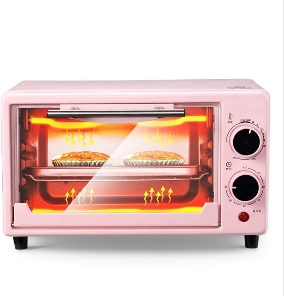 LQRYJDZ Toaster Oven Adjustable Temperature Control,Countertop Smart Oven,Removable Crumb Tray 800W(10 Liters, Pink)