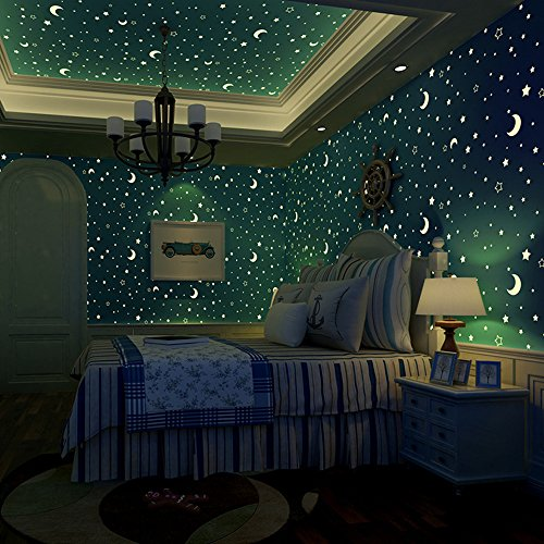Luminous Wallpaper Glow Effect Night Sky Star Moon Snow Stick and Peel Self Adhesive Waterproof for Kids Room Ceiling Children Bedroom Papel Pintado Décor Decorative Stickers (blue star)