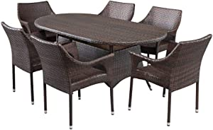 Christopher Knight Home Lennox Outdoor Wicker Round Dining Set, 7-Pcs Set, Multibrown