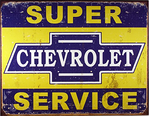 Desperate Enterprises Super Chevy Service Collectible Metal Sign, Model# 1355 , 17x13 (Vintage Art Metal Sign)