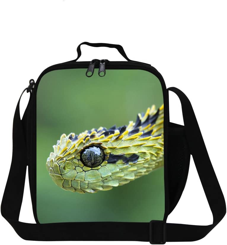 Dispalang Snake Printed Small Lunch Box Bag for Children School Cooler Bags