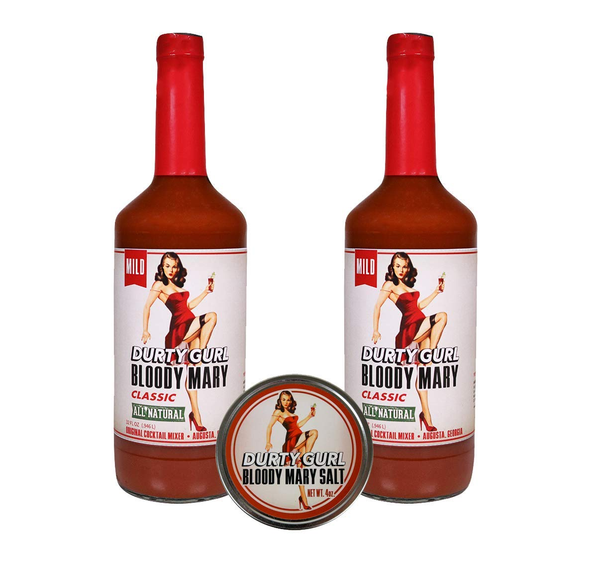 Durty Gurl Classic Bloody Mary Mix (2 Quart Bottles with 1 Salt Rimmer)