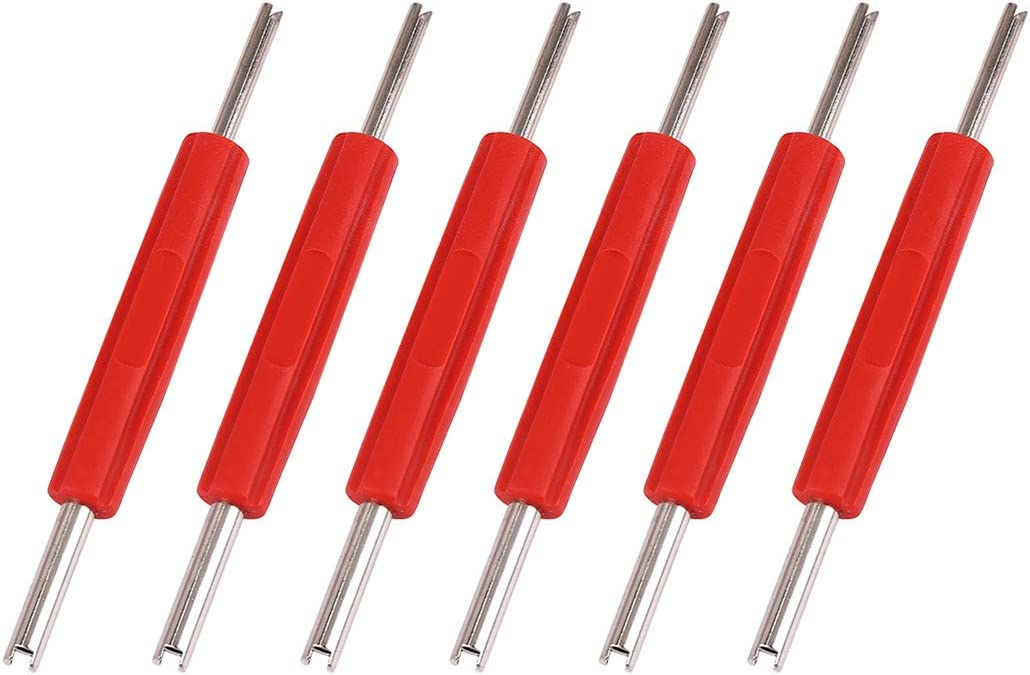 X AUTOHAUX 6pcs Car Truck Motorcycle Rv Tire Valve Core Remover Tool Dual Head Tire Valve Core Remover Installer Tools