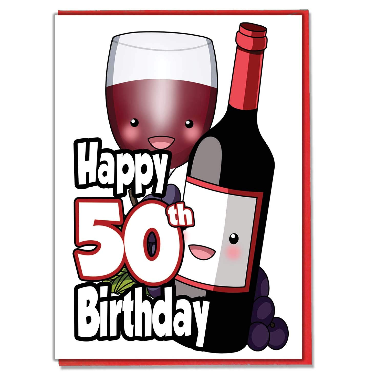 Copa de vino rojo y botella - Tarjeta de 50 cumpleaños ...
